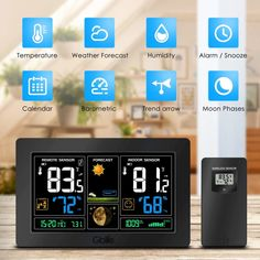 An innovative outdoor wireless sensor with outdoor temperature and humidity display guarantees self-calibrating and accurate data about the outdoor conditions. Temperature Weather, Temperature Measurement, Temperature And Humidity, Humidity Sensor, Weather Forecast, Alarm Clock, Indoor Outdoor, Remote, Display