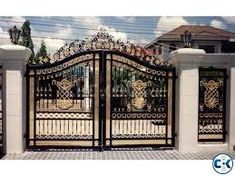 Large Victorian Style Black and Gold toned Cast Iron Entrance Estate Gate, 112 Tall, 144 wide. Victorian Cast iron gates, these are a special order. We can provide design build services for marble as well as cast iron products. Home Gate Design, House Main Gates Design, Fence Gate Design, Steel Gate Design, Front Gate Design, House Design, Front Gates, Entrance Gates, Cast Iron Gates