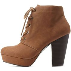 Charlotte Russe Chestnut Bamboo Chunky Heel Lace-Up Booties by Bamboo... ($43) ❤ liked on Polyvore