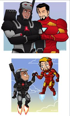 Rhodey and Tony: fistbumps! (Art by suppie)