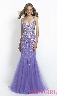 Long V-Neck Open Back Dress by Blush at PromGirl.com