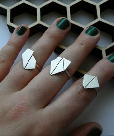 First Crush collection. Handmade geometric rings in sterling silver. #melaniefavreau