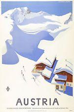 Vintage Skiing//Travel Poster A1A2A3A4Sizes ANTON St ARLBERG TIROL Austria.