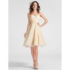 TS Couture  / Cocktail Party / Prom Dress - Champagne Plus Sizes / Petite A-line / Princess Sweetheart / Spaghetti Straps Knee-length – USD $ 74.99