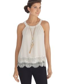 White House | Black Market Sleeveless Tiered Lace Shell Top #whbm