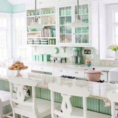 Teal / Mint / Green kitchen. Brick Style Tiles. Open shelving.  Bar.
