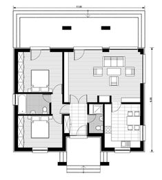 case pe teren de 500 mp 3 plan N Project, Small Cottages, Two Bedroom, Bedroom Small, Bedrooms, Small House Plans, Small Living, Tiny House, Sweet Home
