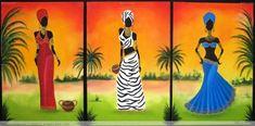 NEGRAS AFRICANAS II Black Girl Art, Black Art, Woman Painting, Figure Painting, Art Haïtien, Afrique Art, African Art Paintings, Haitian Art, Art Premier
