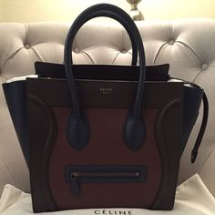 Celine mini luggage tote navy blue with red piping This Celine bag ...