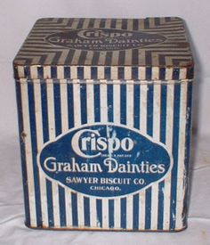 fun box for storage Vintage Tins, Vintage Labels, Blue Words, Tin Toys, Dollhouse Dolls, White Decor, The Good Old Days, Vintage Advertisements, Old And New
