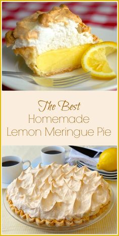 Homemade Lemon Meringue Pie - old fashioned & scratch made! Homemade Lemon Meringue Pie - If your pie comes from powder in a box, STOP! A fantastic homemade lemon meringue pie, completely from scratch, is better & actually just as easy to prepare Lemon Desserts, Just Desserts, Delicious Desserts, Yummy Food, Lemon Desert Recipes, Lemon Recipes Dinner, Meringue Desserts, Summer Dessert Recipes, Sweet Pie