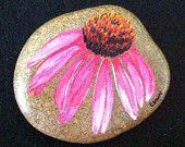 Happy Rock - Purple Coneflower - Hand-Painted River Rock
