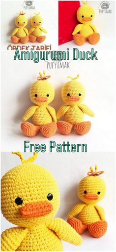 In this article we will share a beautiful amigurumi duck free pattern. You can find everything you want about Amigurumi. Crochet For Kids, Crochet Baby, Free Crochet, Crochet Patterns Amigurumi, Crochet Dolls, Crocheted Toys, Yarn Projects, Crochet Projects, Knitted Animals