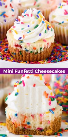 These are the best mini funfetti cheesecakes because they are loaded with sprinkles Sprinkles in the graham cracker crust in the cheesecake and on top funfetticheesecake minicheesecake minifunfetticheesecakes Cupcake Recipes, Cookie Recipes, Cupcake Cakes, Dessert Recipes, Cupcake Videos, Easter Recipes, Recipes Dinner, Kids Baking Recipes, Baking For Kids