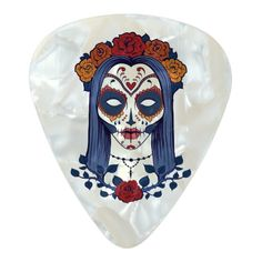 Woman Day of the Dead Pearl Celluloid Guitar Pick