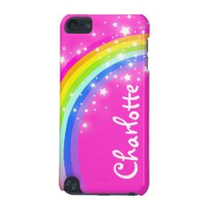 "Uniquely designed bright and colourful rainbow your name girlie ipod case. Case reads: ""Charlotte"" or personalise this case with the name of your choice up to 9 letters. A perfect gift for a vibrant child to help protect your child's ipod from knocks, accidents and loss. Item designed exclusively by Sarah Trett. www.sarahtrett.com #ipod #case #fun #rainbow #your #name #pink #graphic #girls #colourful #charlotte #coloured #violet #purple #yellow #typography #aqua #white #dot #gain #everyday…"