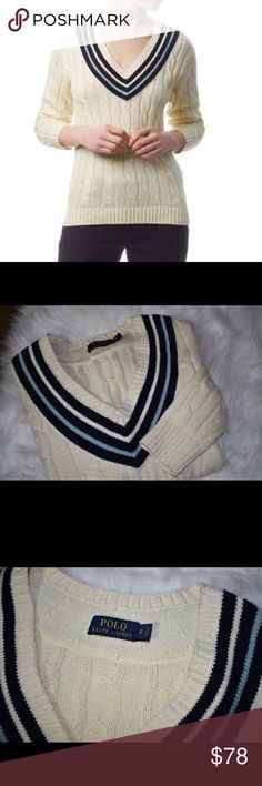 Polo Ralph Lauren Cara Cable Knit Sweater $190 Polo Ralph's Lauren Cara Cable Knit Cricket Sweater  Size Small, fits true to size. Size 4.   Timeless, classic + chic! Luxurious sweater with a retro sporty style. Cream cable knit sweater with navy + light blue accents. Cotton fabric. Pair with dark denim jeans for a casual look or a metallic pleated skirt for a fashion forward vibe.   Gorgeous sweater. $190 retail  New, never worn. No tags. Polo by Ralph Lauren Sweaters V-Necks