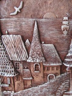 This Pin was discovered by Inn Ceramic Tile Art, Clay Tiles, Ceramic Clay, Clay Houses, Ceramic Houses, Clay Projects, Clay Crafts, Polymer Clay Painting, Pottery Lessons