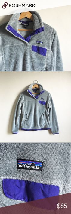 Patagonia Re-tool Snap-T Pullover Fleece No trades! Excellent condition! Purple and gray Patagonia fleece. Size small. Made in Mexico. Patagonia Tops Sweatshirts & Hoodies