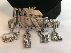 VTG. JJ JONETTE PEWTER NOAHS ARK ARTICULATED ANIMALS GIRAFFES/LIONS BROOCH~  | eBay