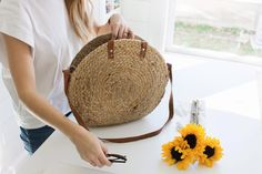 always rooney: Round Woven Jute & Leather Bag | DIY