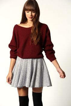 Lacey Knitted Speckled Flippy Skirt