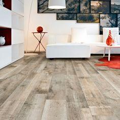 carrelage aspect bois salon idée revêtement canapé blanc design table basse rouge