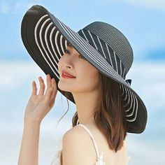 Ladies floppy straw hat for summer striped beach wide brim sun hat with bow.  Wide Brim Sun HatWide Brimmed HatsFloppy ... 8501e8ce3d00