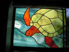 Stained Glass Sea Turtle. $180.00, via Etsy.