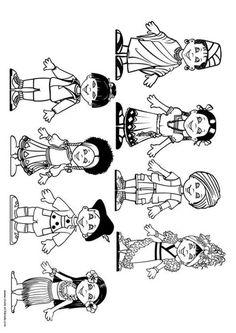 Malvorlage Kinder der Welt. Bilder für Schule und Unterricht: Kinder der Welt - Ausmalbild - Bild zum Ausmalen - Zeichnung. Abb. 9281.