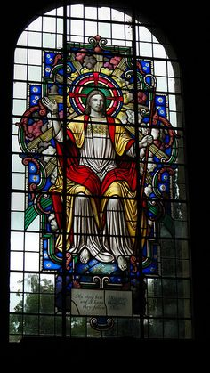 Stained Glass Window - St Marys Church - Threlkeld - I don't like the floating image and the distracting view outside -