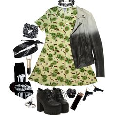 Untitled #369 by lasagnas on Polyvore featuring MuuBaa, Sourpuss, ASOS, River Island, Topshop, GAS Jeans, Halloween, black and GREEN