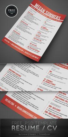 Free for personal use. Not for Resale. Designer: Cursive Q Designs Cv Resume Template, Resume Cv, Resume Tips, Resume Design, Sample Resume, Resume Ideas, Resume Help, Cv Website, Brand Management