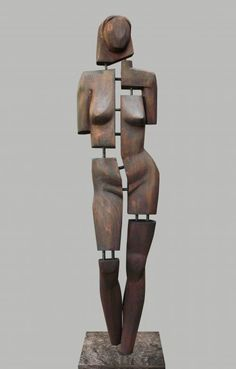 Wood. metal. stone Figurative Abstract Sculptures #sculpture by #sculptor David Sirbiladze titled: 'Woman in Wood' £4167 #art