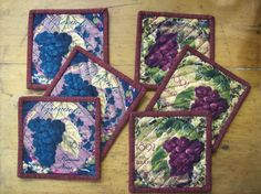 Set of 6 Quilted Cotton Reversible Coasters by oldoakchair on Etsy