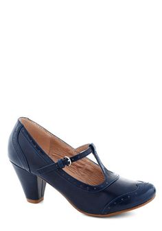 Gallery Opener Heel in Blue by Chelsea Crew - Mid, Faux Leather, Blue, Solid, Work, Better, T-Strap, Vintage Inspired, 40s