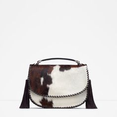 Image 1 of PRINTED LEATHER MESSENGER BAG from Zara
