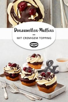Donauwellen Muffins - Donauwellen muffins: Delicious muffins with cherries, chocolate and a cream topping board # - Sweet Desserts, Holiday Desserts, Holiday Baking, Sweet Recipes, Delicious Desserts, Desserts Keto, Baking Recipes, Cookie Recipes, Dessert Recipes