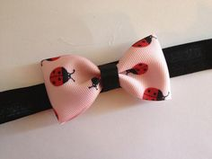 Tuxedo Bow Headband, Baby Headband, Pink Ladybug Bow Tie Tuxedo Bow on Elastic Headband, Baby Toddler Girl on Etsy, $3.25
