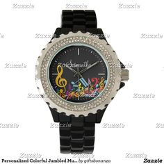 Personalized Colorful Jumbled Music Notes on Black