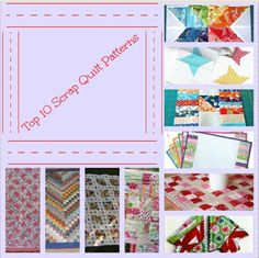 Top 10 Free Scrap Quilt Patterns - Grab your fabric scraps and get ready to make the most popular scrap quilt patterns on our site. We've got scrappy quilt block patterns, full sized patterns, and some fun small quilt projects you can make with just a few scraps of fabric.