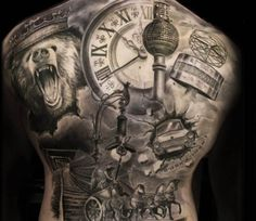 Black and Grey Back tattoo by Steffi Eff