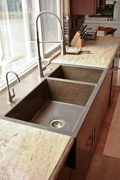 cement kitchen sink rustic countertop color striations edge concrete 2049