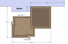 Contrasting paver distinguish the dining and fire pit areas of this beautiful 490 sq. ft. Overlapping Rectangle Patio Design with Seat Wall. Download plan.