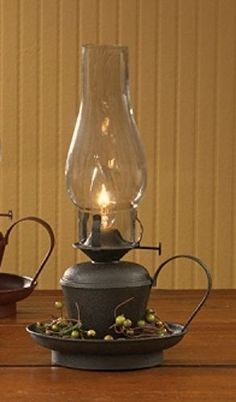 New Primitive Country BLACK HURRICANE LAMP Electric Oil Lantern Light #Country