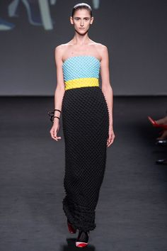 Dior F13 HC - the strapless dress has tiers of spacey shibori (the Japanese process that produces that peculiar spiky fabric)
