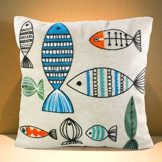 Linen Cushion Cover 45x45cm Embroidery Cartoon Fishes Throw Pillowcase Square Pillow Covers Decorative Couch Sofa
