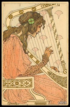 Lady and Harp, a Mucha-style illustration published by M. Munk, Vienna. Art Nouveau