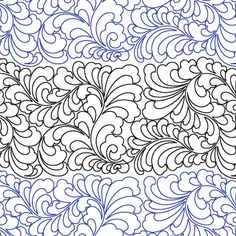 "Royal Plumes - Paper - 17"" - Quilts Complete - Continuous Line Quilting Patterns. Designer Judy Allen"