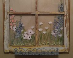 Old painted window,floral,distressed windows,THIS WINDOW SOLD,window with shelf,hand painted window,floral window,window decor,bath